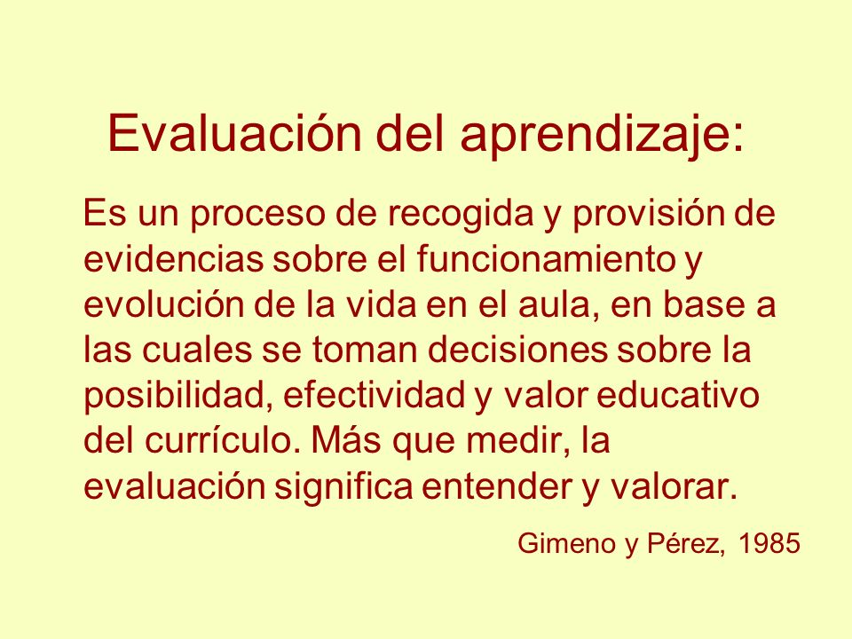 Evaluación del aprendizaje: