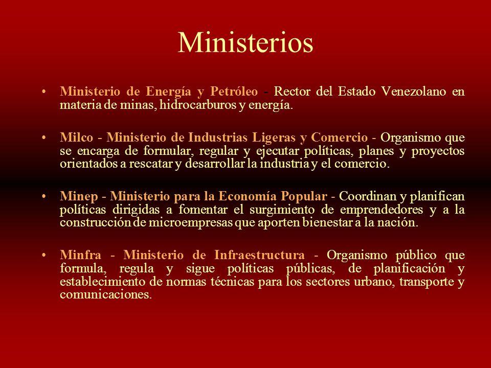 MinisteriosMinisterio de Energía y Petróleo - Rector del Estado Venezolano en materia de minas, hidrocarburos y energía.