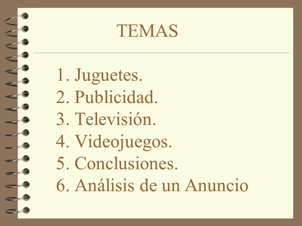 TEMAS. 1. Juguetes. 2. Publicidad. 3. Televisión. 4. Videojuegos. 5