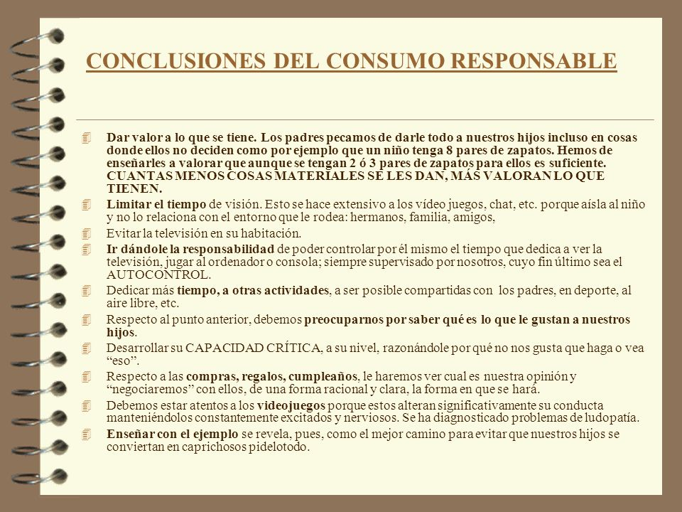CONCLUSIONES DEL CONSUMO RESPONSABLE