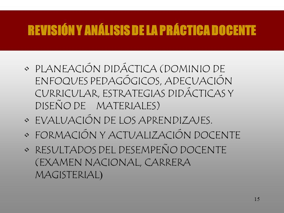 REVISIÓN Y ANÁLISIS DE LA PRÁCTICA DOCENTE