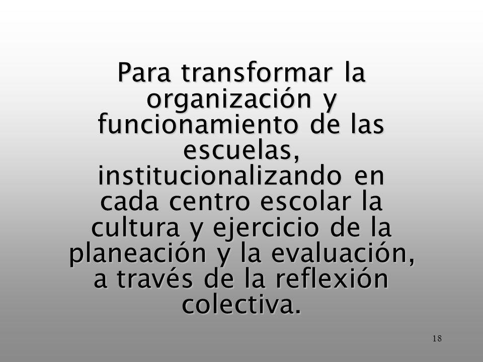 Para transformar la organización y funcionamiento de las escuelas, institucionalizando en cada centro escolar la cultura y ejercicio de la planeación y la evaluación, a través de la reflexión colectiva.