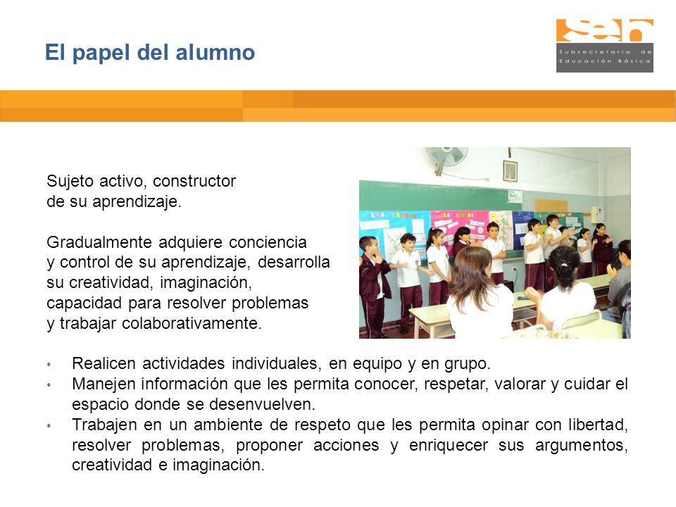 El papel del alumno Sujeto activo, constructor de su aprendizaje.