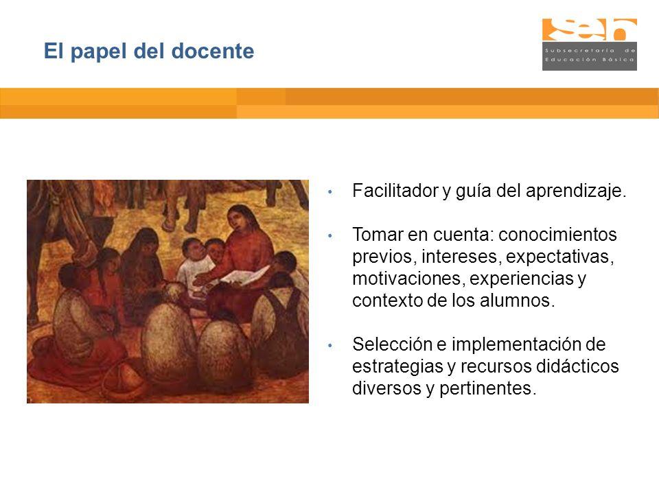 El papel del docente Facilitador y guía del aprendizaje.