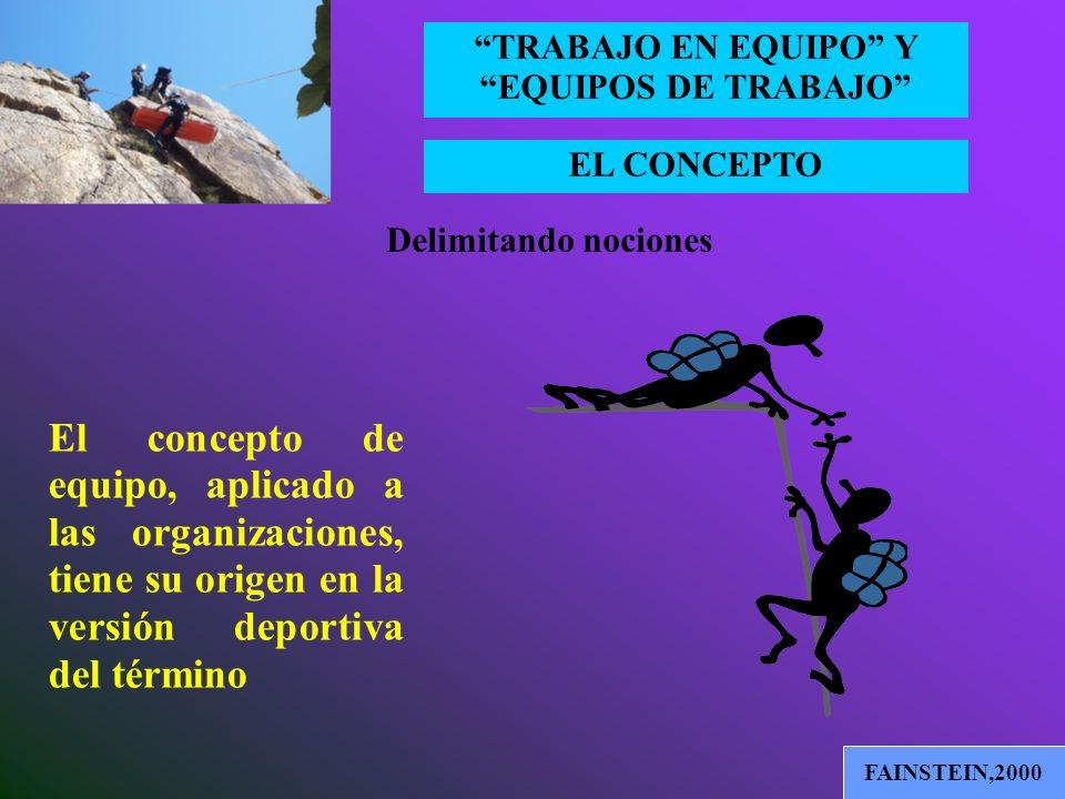 Delimitando nociones El concepto de equipo, aplicado a las organizaciones, tiene su origen en la versión deportiva del término.