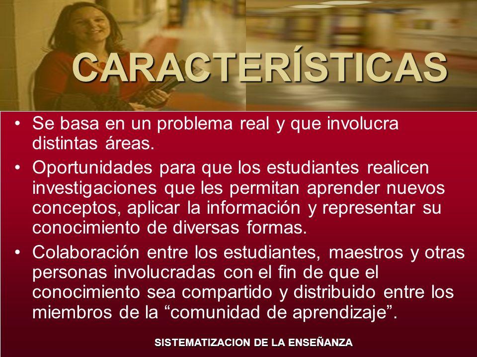 CARACTERÍSTICASSe basa en un problema real y que involucra distintas áreas.