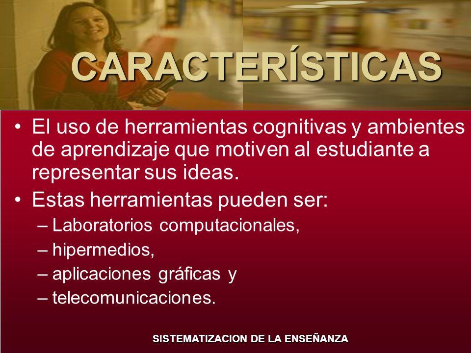 CARACTERÍSTICAS El uso de herramientas cognitivas y ambientes de aprendizaje que motiven al estudiante a representar sus ideas.