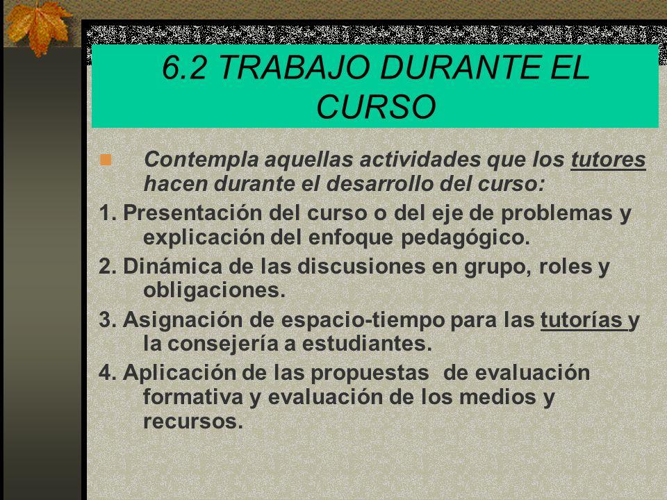 6.2 TRABAJO DURANTE EL CURSO