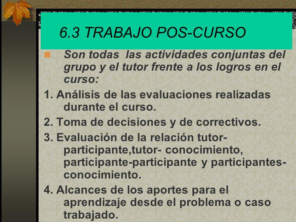 6.3 TRABAJO POS-CURSOSon todas las actividades conjuntas del grupo y el tutor frente a los logros en el curso: