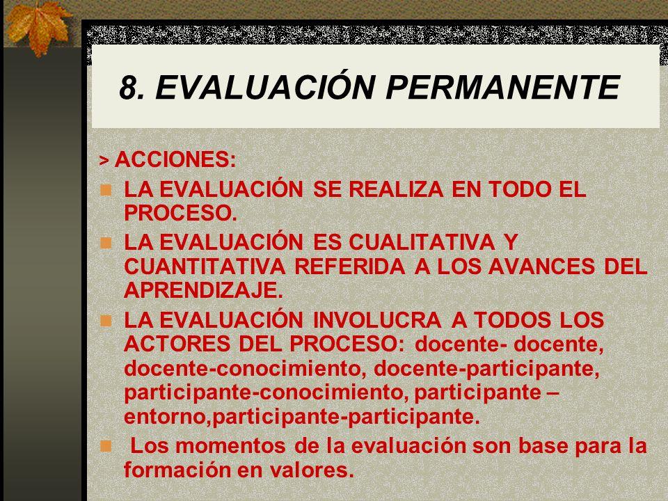 8. EVALUACIÓN PERMANENTE