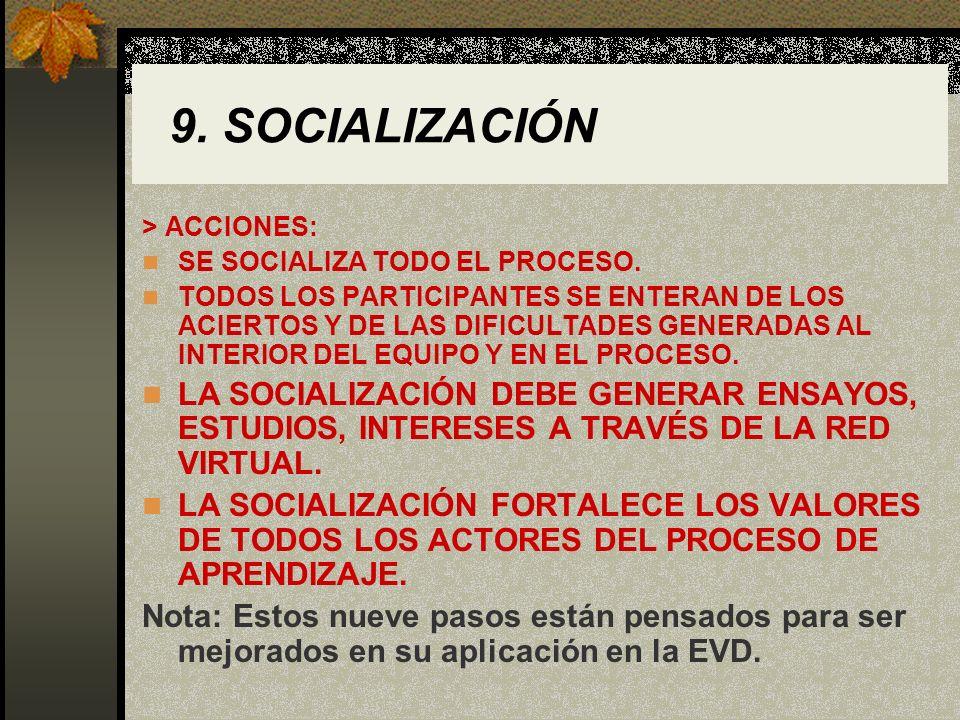 9. SOCIALIZACIÓN> ACCIONES: SE SOCIALIZA TODO EL PROCESO.