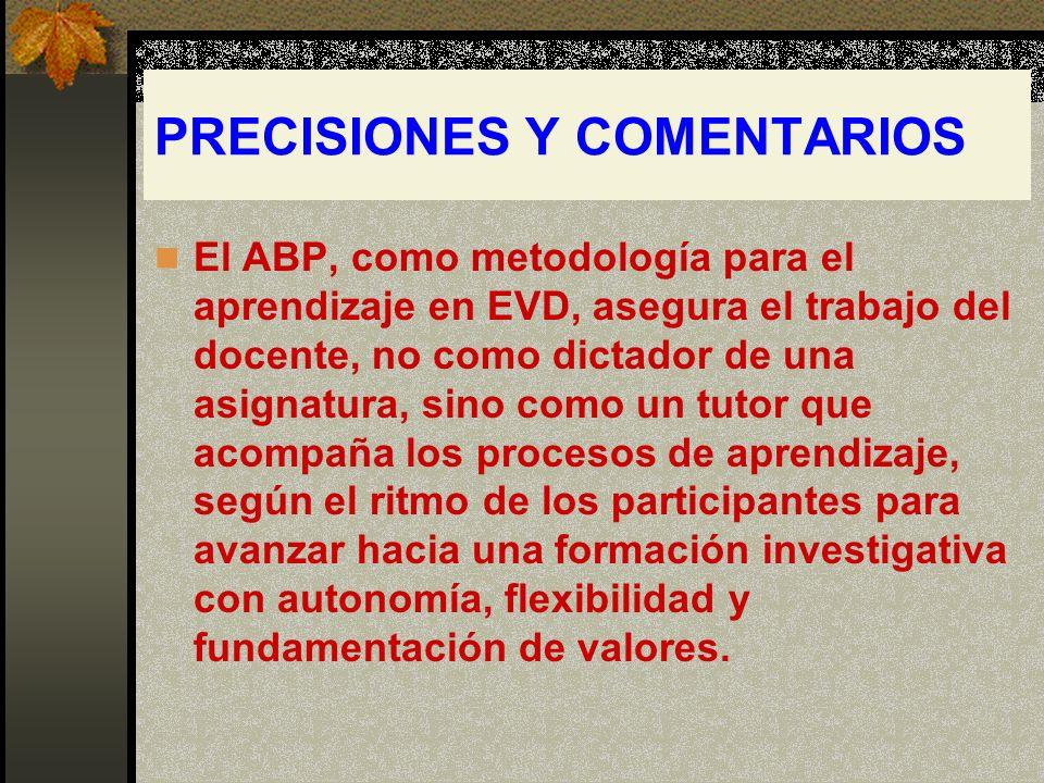 PRECISIONES Y COMENTARIOS