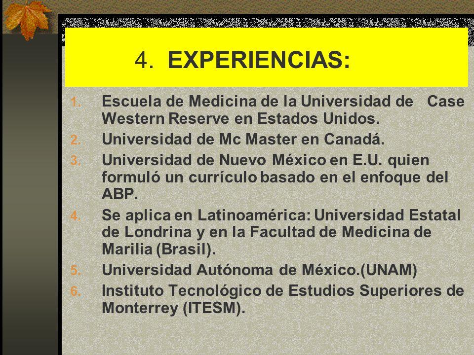 4. EXPERIENCIAS:Escuela de Medicina de la Universidad de Case Western Reserve en Estados Unidos.