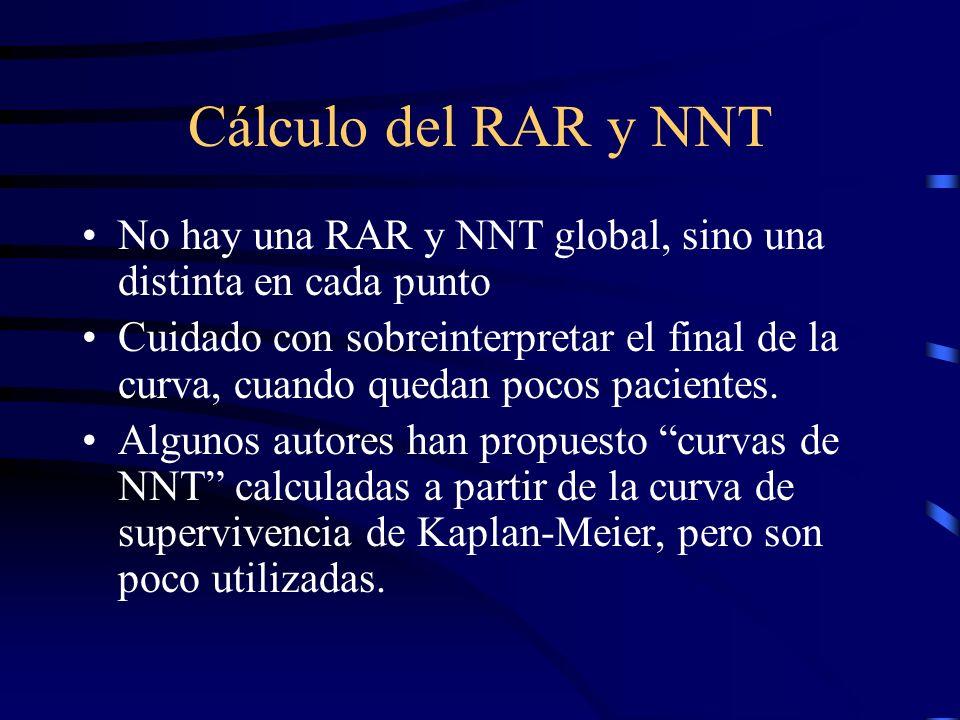 Cálculo del RAR y NNT No hay una RAR y NNT global, sino una distinta en cada punto.