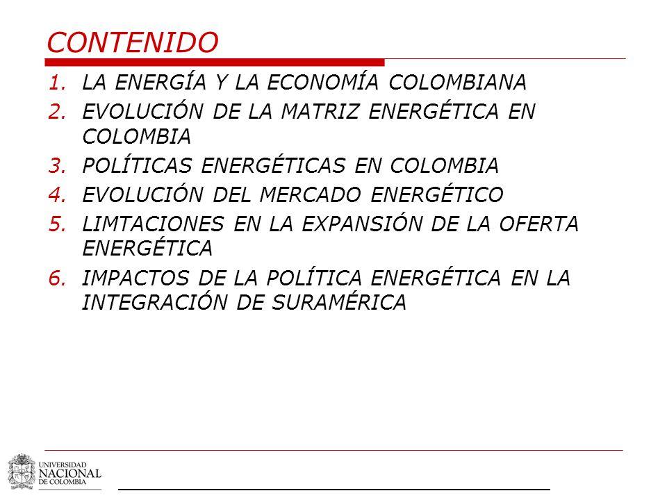 CONTENIDO LA ENERGÍA Y LA ECONOMÍA COLOMBIANA
