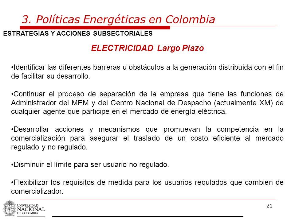 3. Políticas Energéticas en Colombia