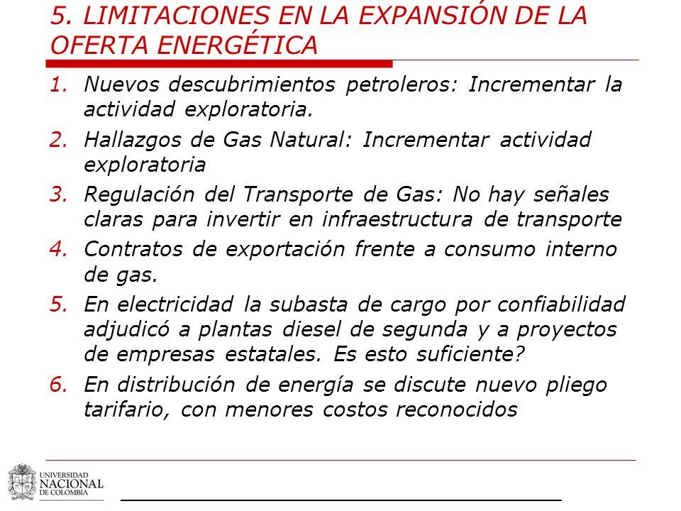 5. LIMITACIONES EN LA EXPANSIÓN DE LA OFERTA ENERGÉTICA
