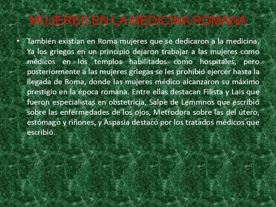 MUJERES EN LA MEDICINA ROMANA