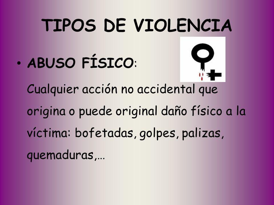 TIPOS DE VIOLENCIA ABUSO FÍSICO: