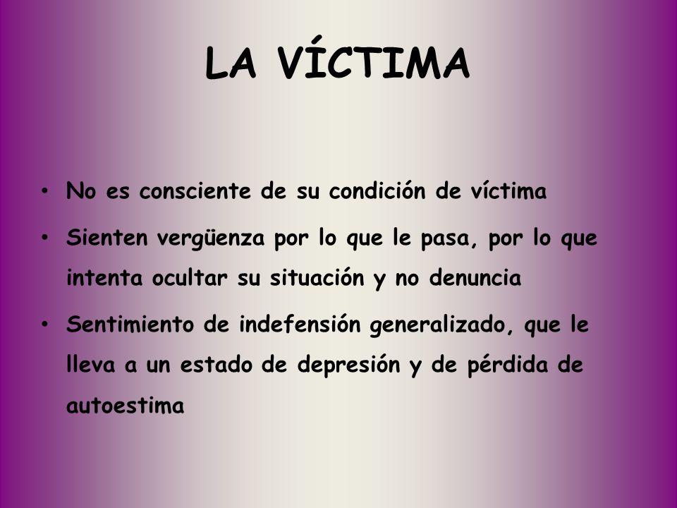 LA VÍCTIMA No es consciente de su condición de víctima
