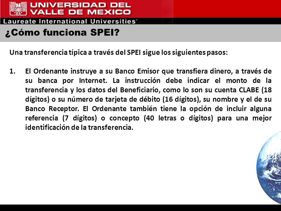 ¿Cómo funciona SPEI Una transferencia típica a través del SPEI sigue los siguientes pasos: