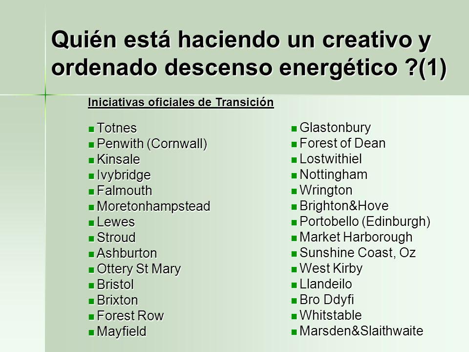 Quién está haciendo un creativo y ordenado descenso energético (1)
