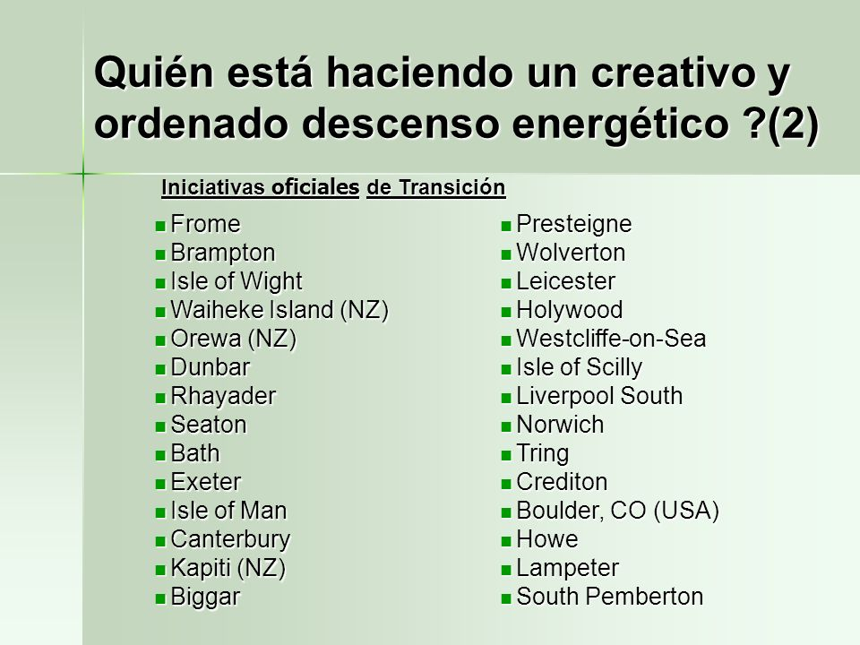 Quién está haciendo un creativo y ordenado descenso energético (2)