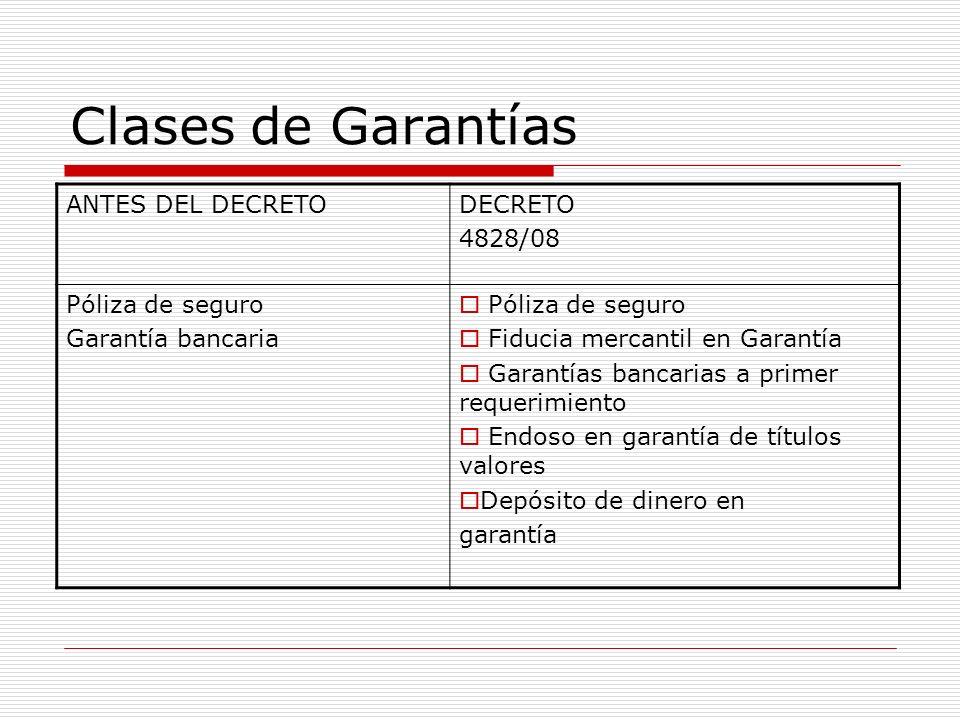 Clases de Garantías ANTES DEL DECRETO DECRETO 4828/08 Póliza de seguro
