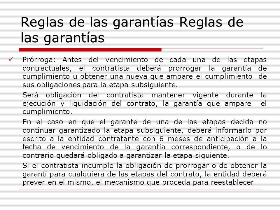 Reglas de las garantías Reglas de las garantías