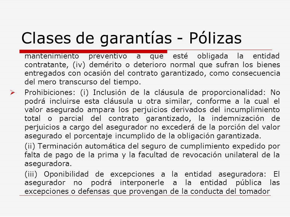 Clases de garantías - Pólizas
