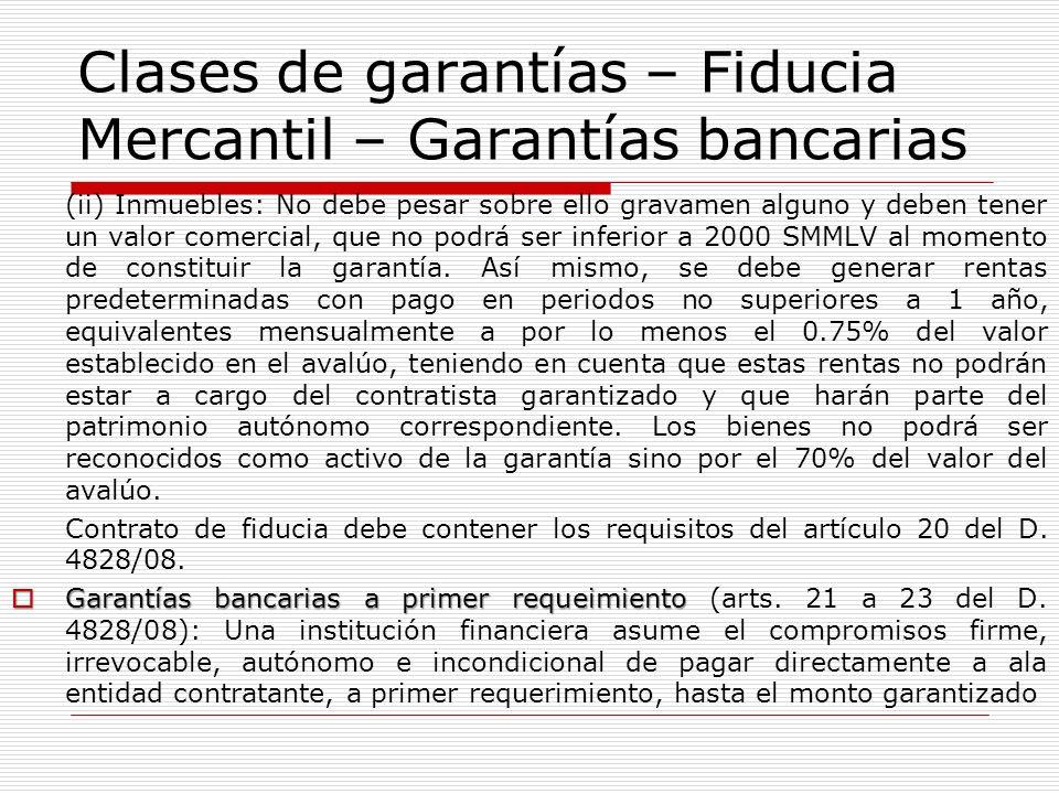 Clases de garantías – Fiducia Mercantil – Garantías bancarias