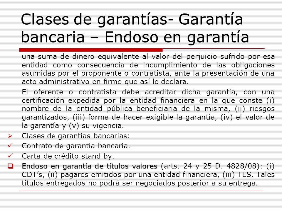 Clases de garantías- Garantía bancaria – Endoso en garantía