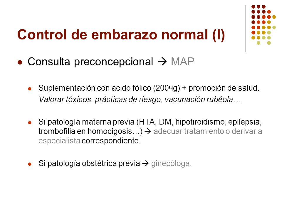 Control de embarazo normal (I)