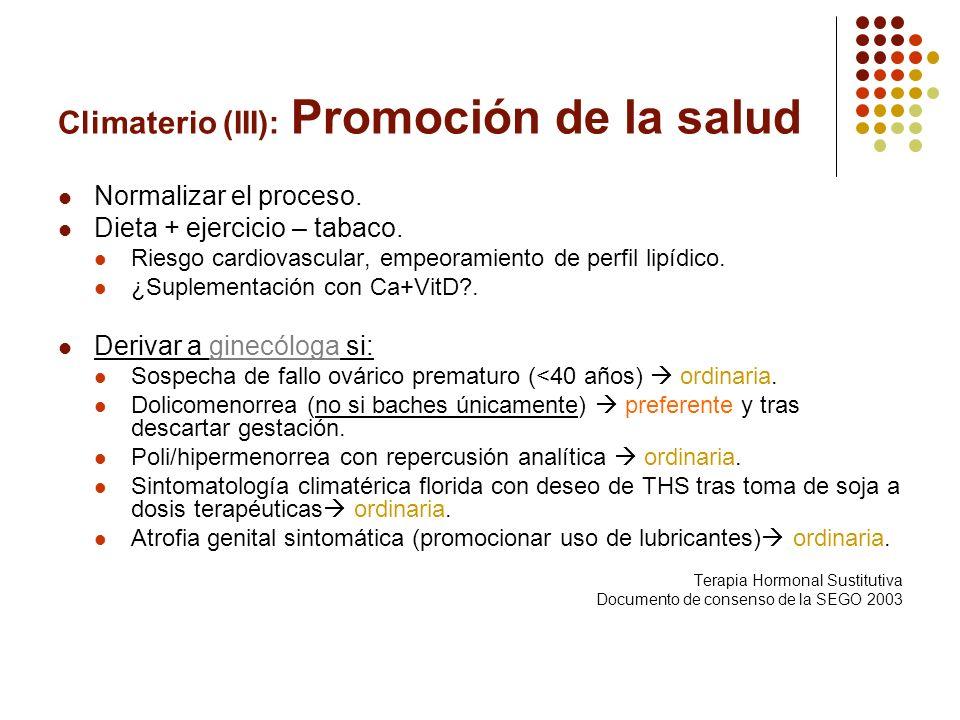 Climaterio (III): Promoción de la salud