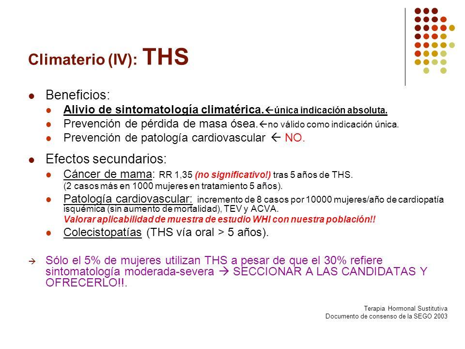 Climaterio (IV): THS Beneficios: Efectos secundarios: