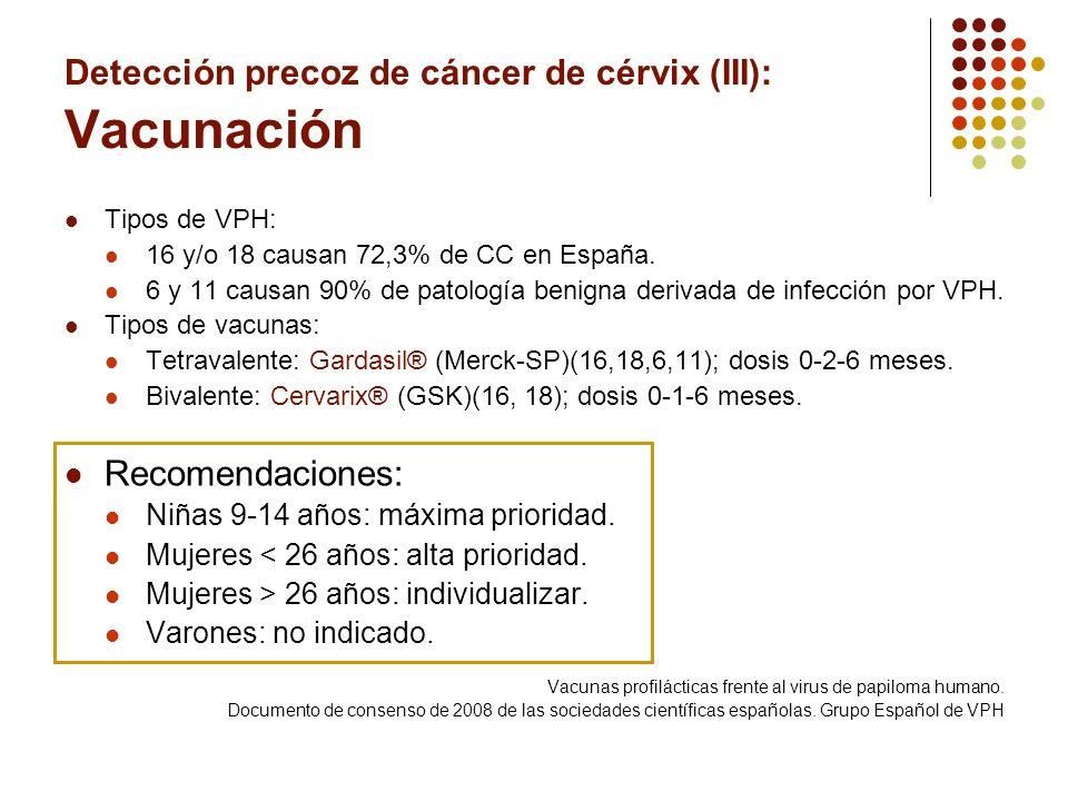 Detección precoz de cáncer de cérvix (III): Vacunación