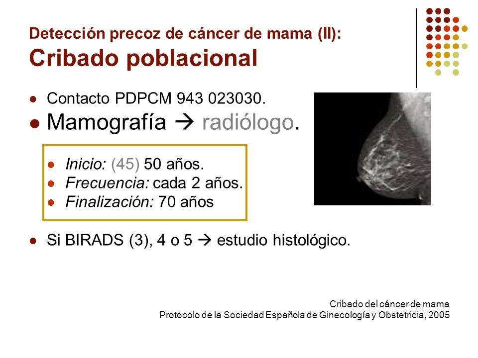 Detección precoz de cáncer de mama (II): Cribado poblacional