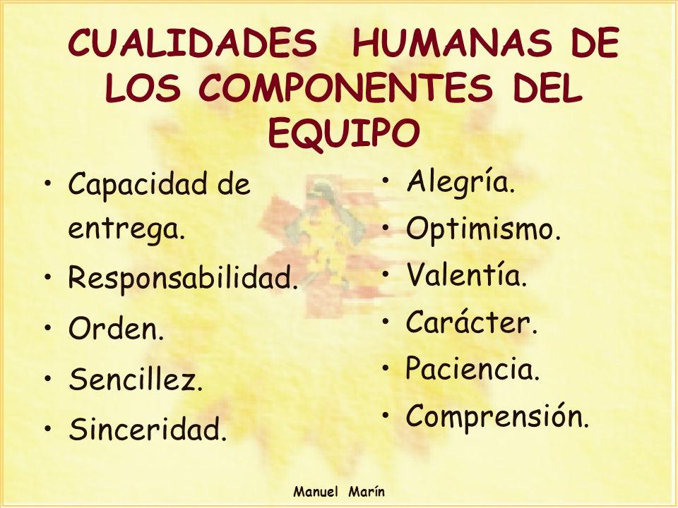 CUALIDADES HUMANAS DE LOS COMPONENTES DEL EQUIPO