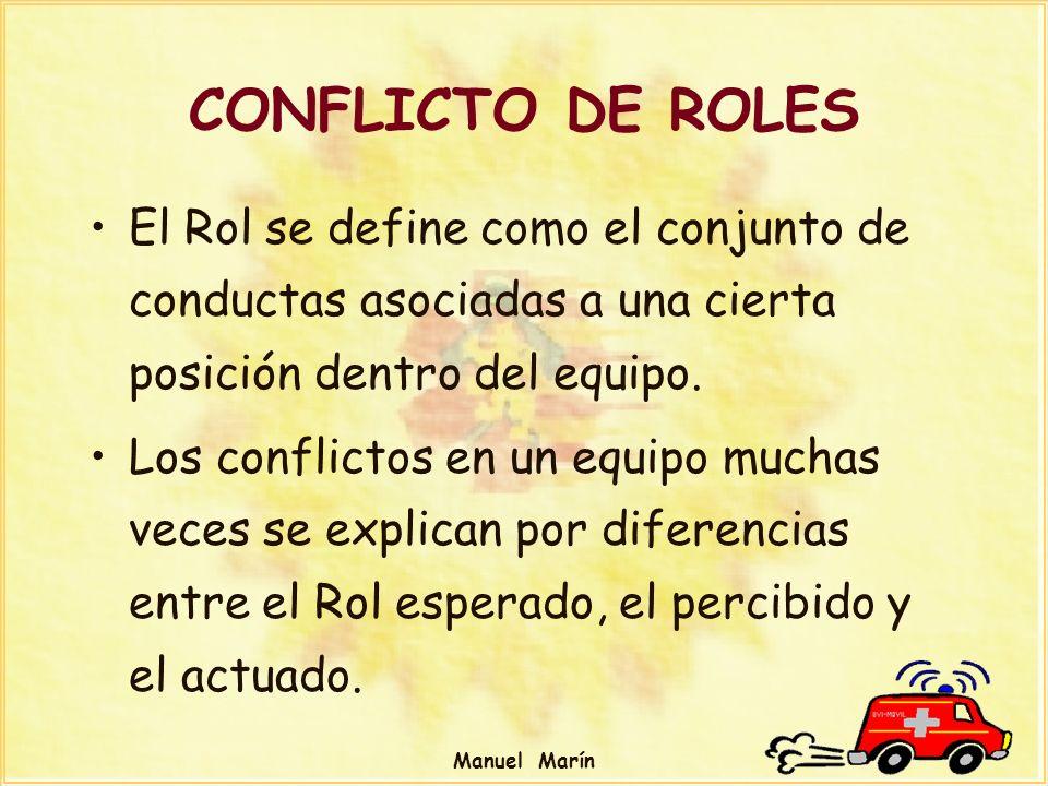CONFLICTO DE ROLES El Rol se define como el conjunto de conductas asociadas a una cierta posición dentro del equipo.