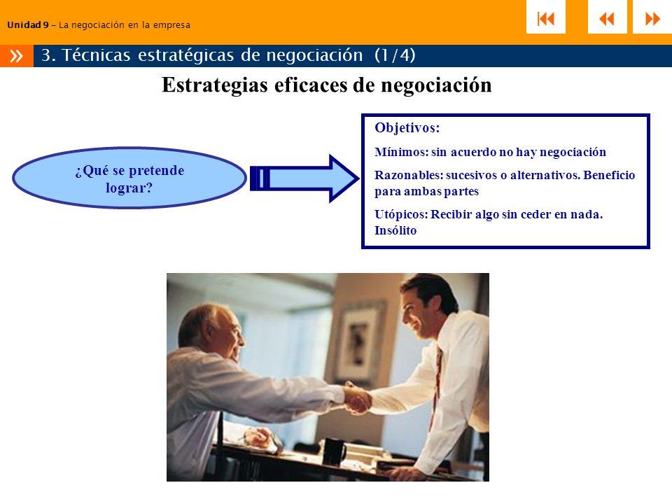 Estrategias eficaces de negociación ¿Qué se pretende lograr