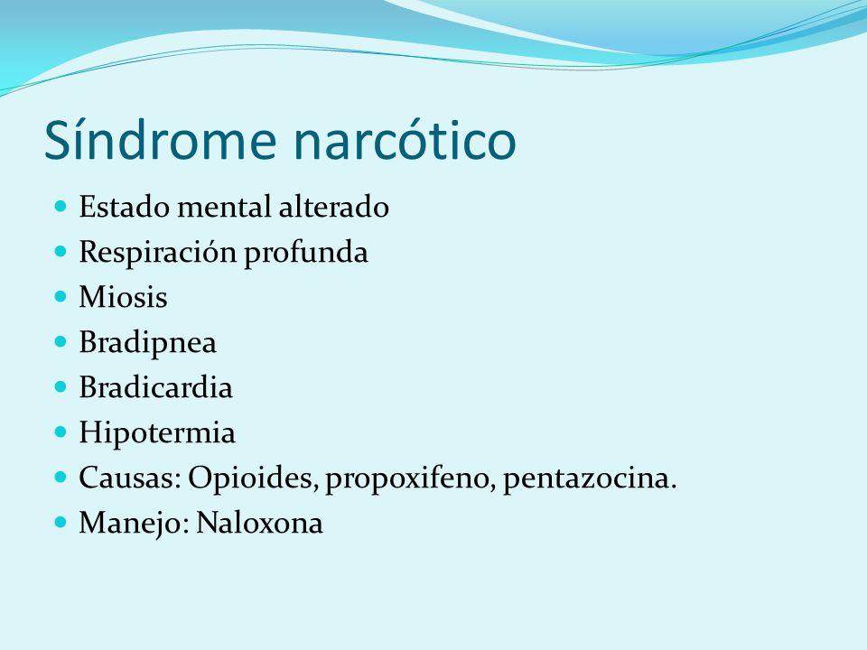 Síndrome narcótico Estado mental alterado Respiración profunda Miosis