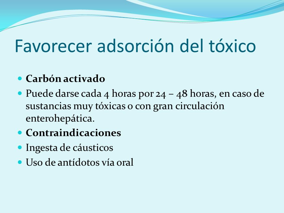 Favorecer adsorción del tóxico
