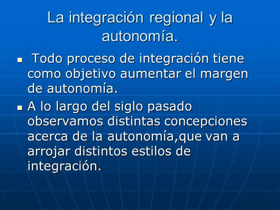La integración regional y la autonomía.