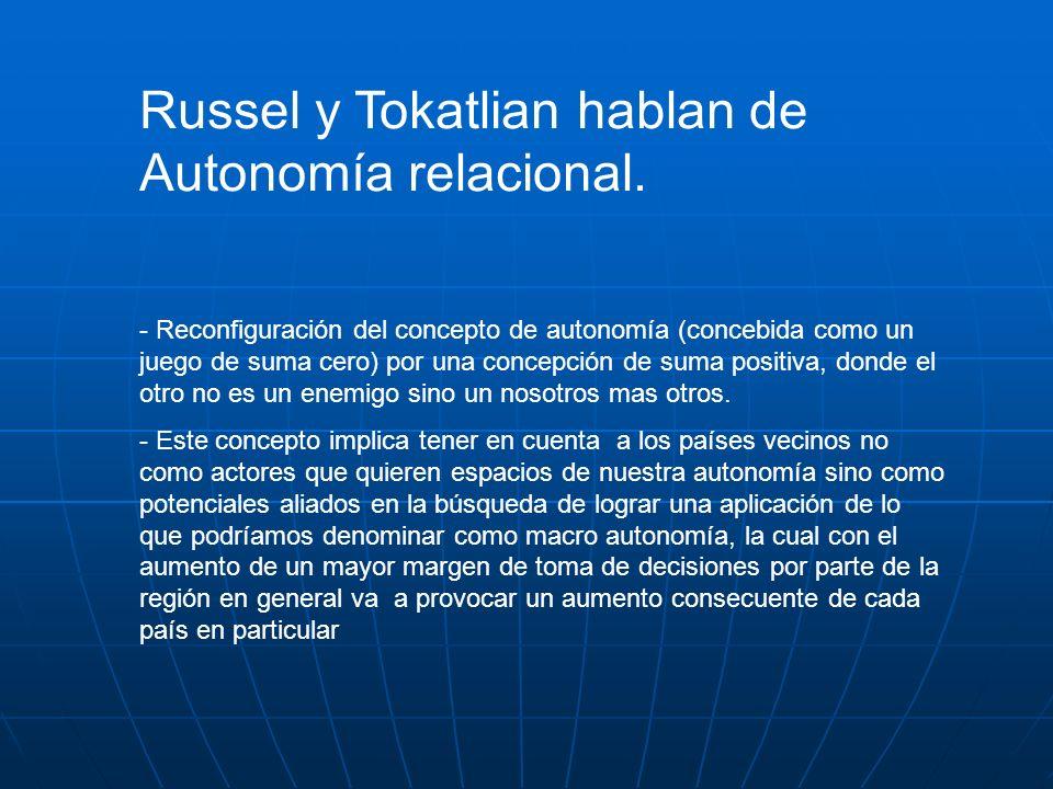 Russel y Tokatlian hablan de Autonomía relacional.