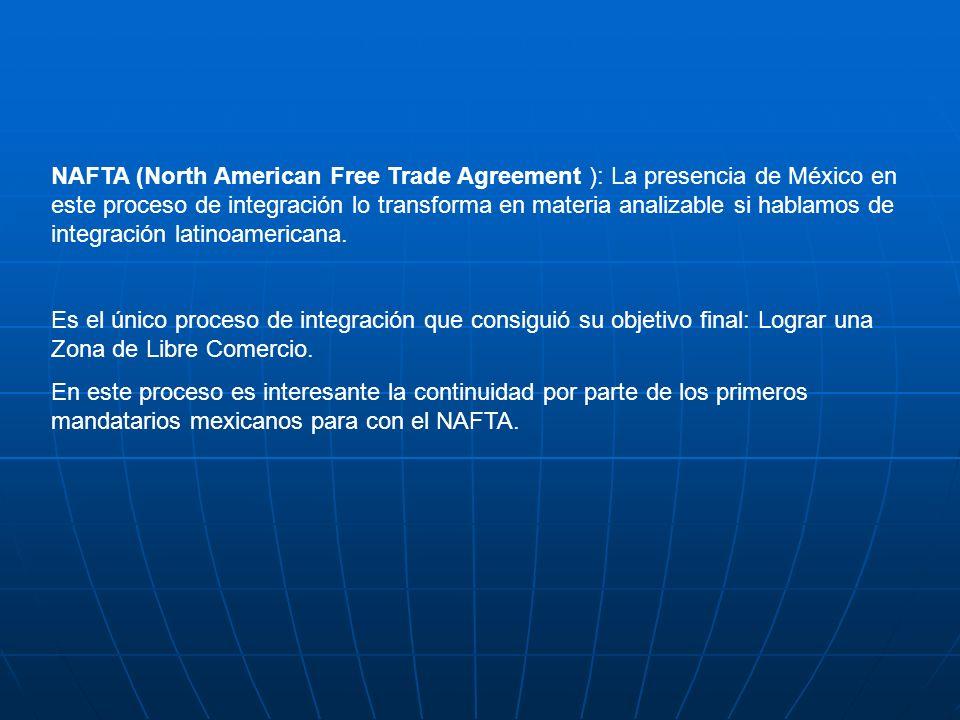 NAFTA (North American Free Trade Agreement ): La presencia de México en este proceso de integración lo transforma en materia analizable si hablamos de integración latinoamericana.