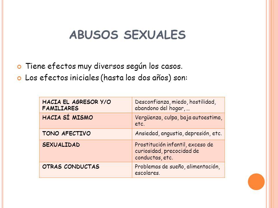 ABUSOS SEXUALES Tiene efectos muy diversos según los casos.