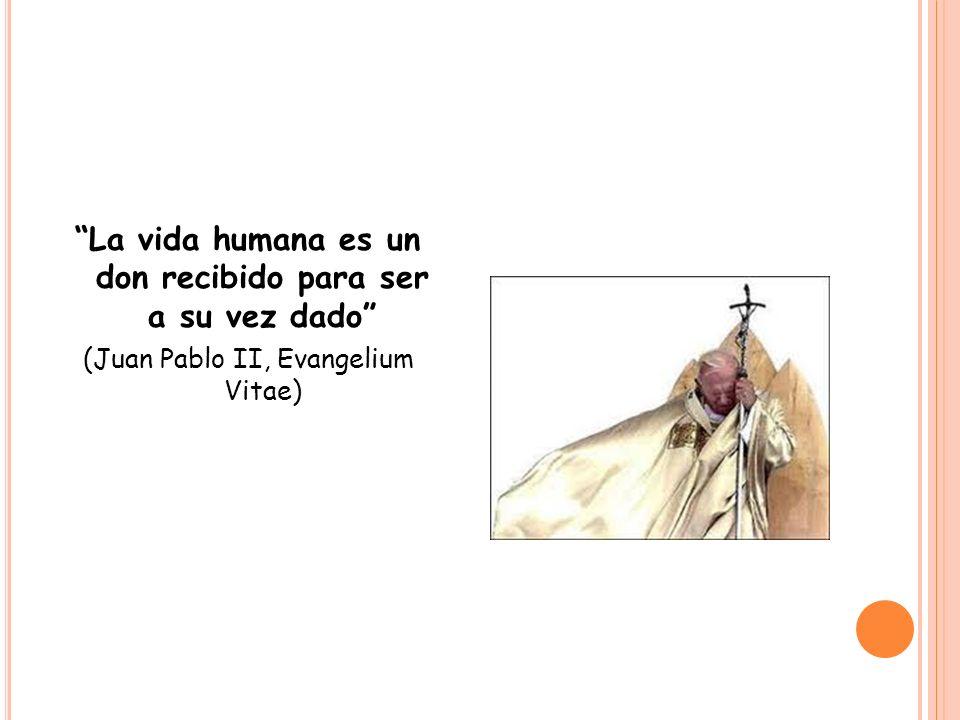 La vida humana es un don recibido para ser a su vez dado