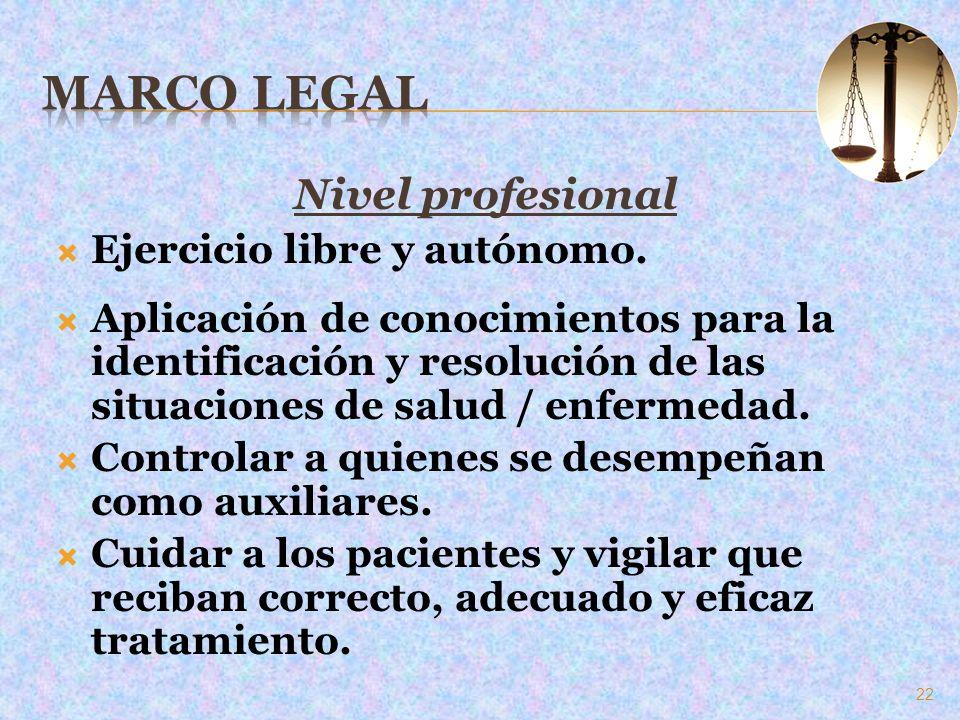 Marco Legal Nivel profesional Ejercicio libre y autónomo.