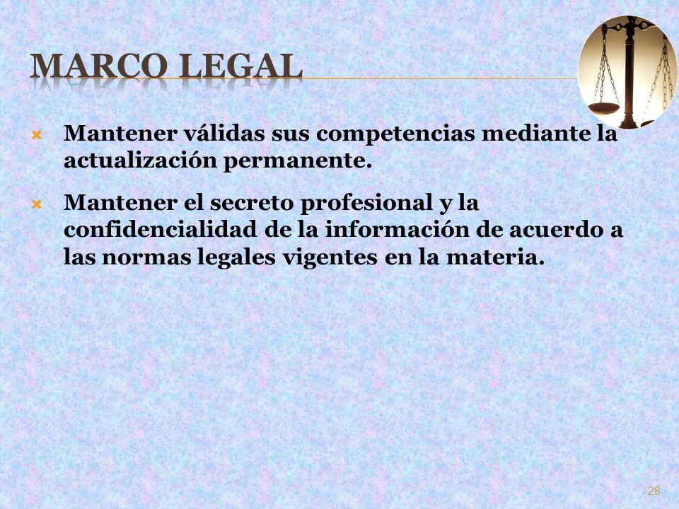 Marco Legal Mantener válidas sus competencias mediante la actualización permanente.