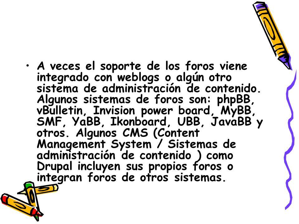 A veces el soporte de los foros viene integrado con weblogs o algún otro sistema de administración de contenido.